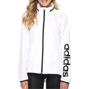 white adidas windbreaker